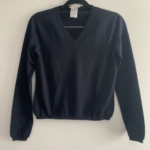 Navy V-Neck Giorgio Armani Wool Sweater